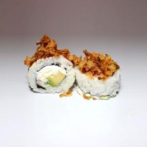 Langostino queso cebolla california roll