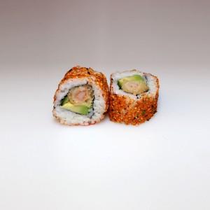 Tempura langostino picante california roll